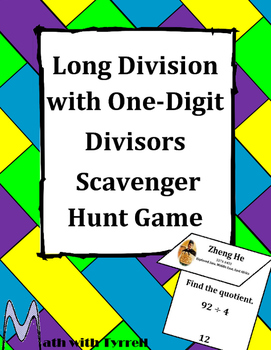 Long Division with One-Digit Divisors Scavenger Hunt Game