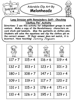 """Long Division with Remainders"" American Revolution Characters"