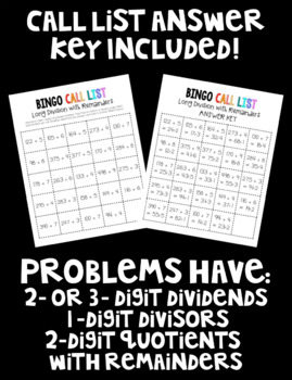 Long Division with Remainders BINGO! 32 Different Cards!