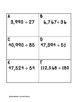 Long Division with Remainders Match Up Game - Grades 4-7
