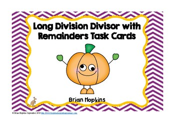 Long Division with Remainders Pumpkin Task Cards for Beginners