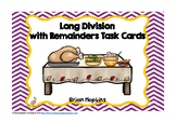 Long Division with Remainders Thanksgiving Feast Task Cards