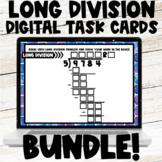 Long Division with Two Digit Divisors Digital Task Cards Practice Bundle