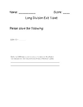 Long Division with Whole Numbers Exit Ticket