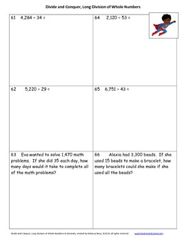 Long Division with Whole Numbers & Decimals Math Unit