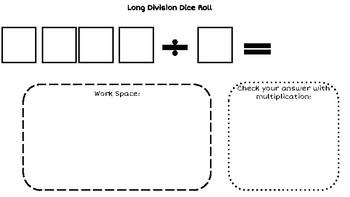 Long Division (with and without decimals) Dice Roll Game