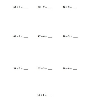 Long Division (with remainders)