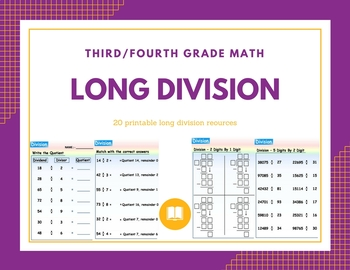 Long Division worksheets for TEST