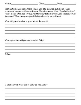 Long Divison by 1-digit divisors - Word Problems - Organizer