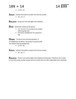 Long Divsion Notes