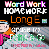 Long E Word Work ~ Long Vowels Worksheets for Homework or Morning Work