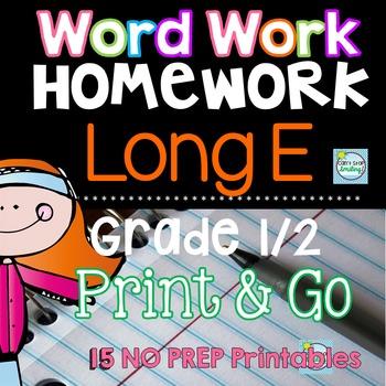Long E Homework Printables