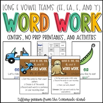 Long E Word Work Activity Packet {spelled ee, ea, e, and y}