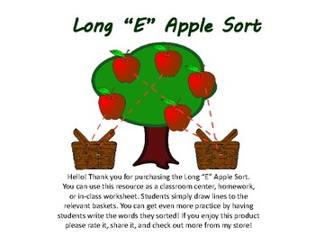 Long E Apple Tree Sort. [No Prep!]