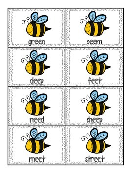 Long E Busy Bee sorting game (ee and ea)