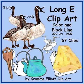 Long E Words Clip Art Realistic Color and BW