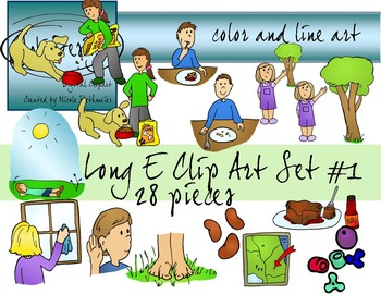 Long E Clip Art Set 1 - Color and Line Art 28 pc set