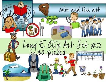 Long E Clip Art Set 2 - Color and Line Art 30 pc set