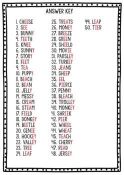 Long E Clip Cards (ee, ea, y, ie, ey)