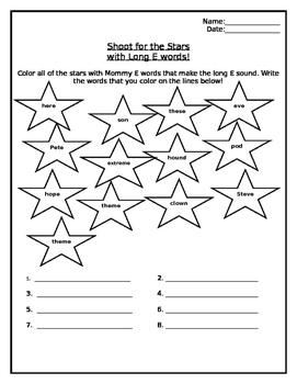 Long E Color the Stars Worksheet
