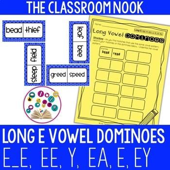 Long Vowel Dominoes: Long E (ee, e_e, ey, y, ea, e)