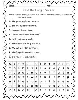 Long E: Find the Long E Words