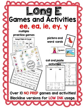 Long E Word Work Activities