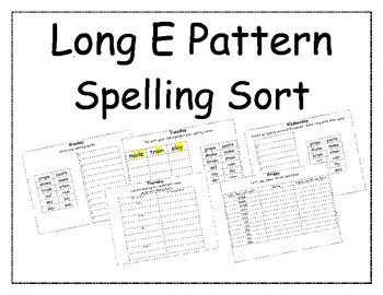Long E Pattern Spelling Packet 1, 2, and 3