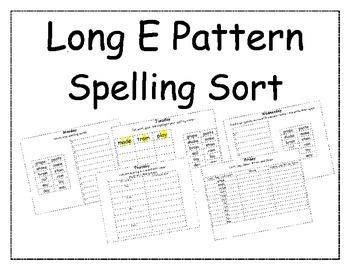 Long E Pattern Spelling Packet