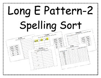 Long E Pattern Spelling Packet 2