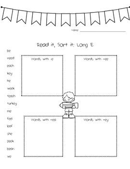 Long E Phonics Activity Pack