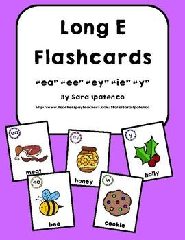 Long E Phonics Flashcards Bundle