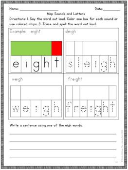 Long A Phonics Practice EIGH Vowel Team Multisensory Orton-Gillingham