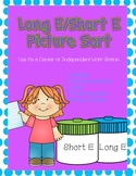 Long E/ Short E Picture Sort File Folder Activity/Literacy Center