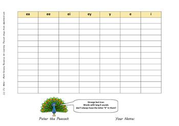 Long E Sounds - Grades 3 - 6 or Special Education Phonics Activity