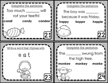 Long E Task Cards - Scoot Game
