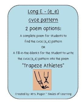 Long E Vowel Poem Using cvce Pattern e_e