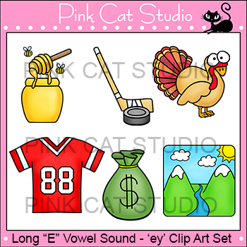 Long E Vowel Sound Spelled 'ey' Phonics Clip Art Set - Commercial Use Okay