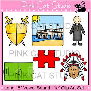 Long E Vowel Sound Spelled 'ie' Phonics Clip Art Set - Com
