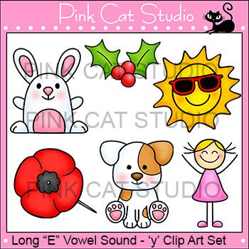 Long E Vowel Sound Spelled 'y' Clip Art - poppy, holly, puppy, happy, bunny