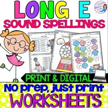Long E Vowel Teams Practice Worksheets