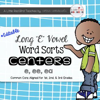 Long E Vowel Word Sorts {Editable}