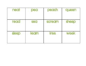 Long E Word Cards