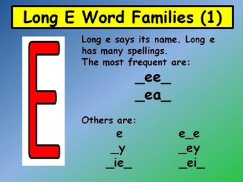Long E Word Families 1