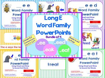 Long E Word Family PowerPoints Bundle for K, 1st or 2nd (Common Core)