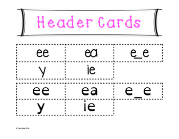 Long E Word Sort {Differentiated} + Seat work