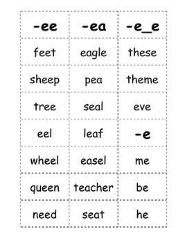 Long E Word Sort - Partner Game
