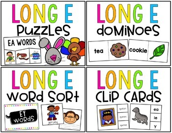 Long E Word Work Centers & Activities (ee, ea, ie, ey, y)