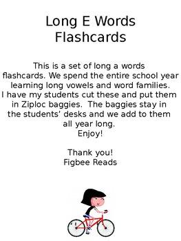 Long E Words Flashcards