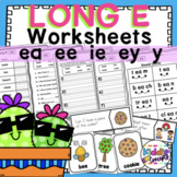Long E Worksheets ea, ee, ie, ey, y